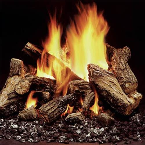 Log sets give you the beauty of a traditional fire with the convenience and lower cost of a gas fireplace. And no more going out in the cold to get wood or mess from bringing it in!